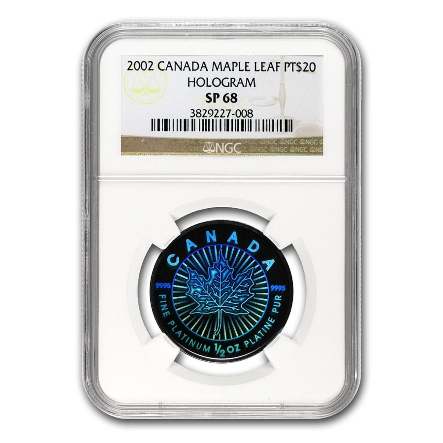 2002 Canada 1/2 oz Platinum Maple Leaf SP-68 NGC (Hologram)