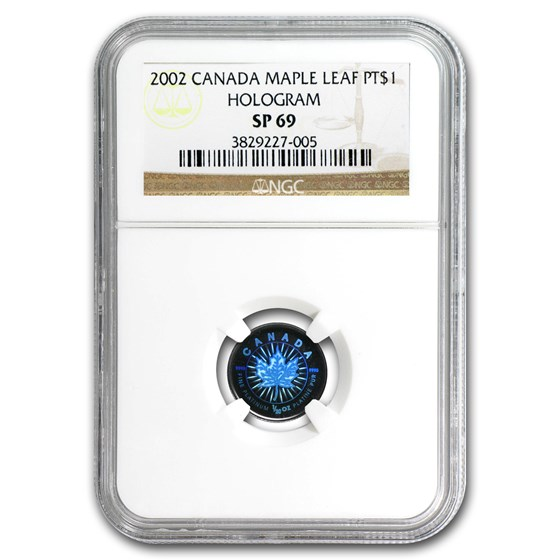 2002 Canada 1/20 oz Platinum Maple Leaf SP-69 NGC (Hologram)