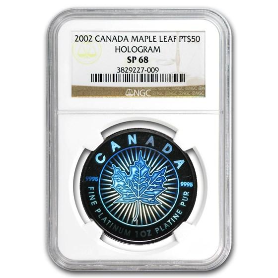2002 Canada 1 oz Platinum Maple Leaf SP-68 NGC (Hologram)