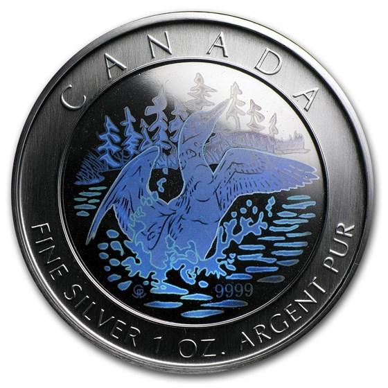 2002 Canada 1 oz Silver $1 15th Anniv Loon (Hologram, w/Box)