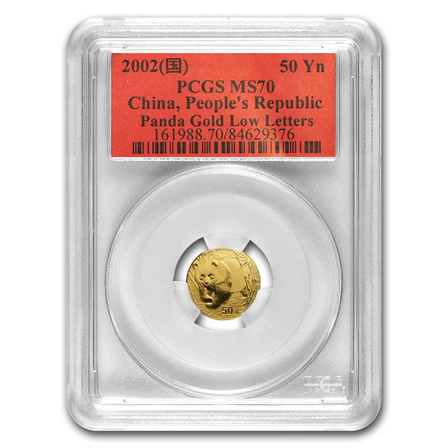 2002 China 1/10 oz Gold Panda MS-70 PCGS (Low Letters)