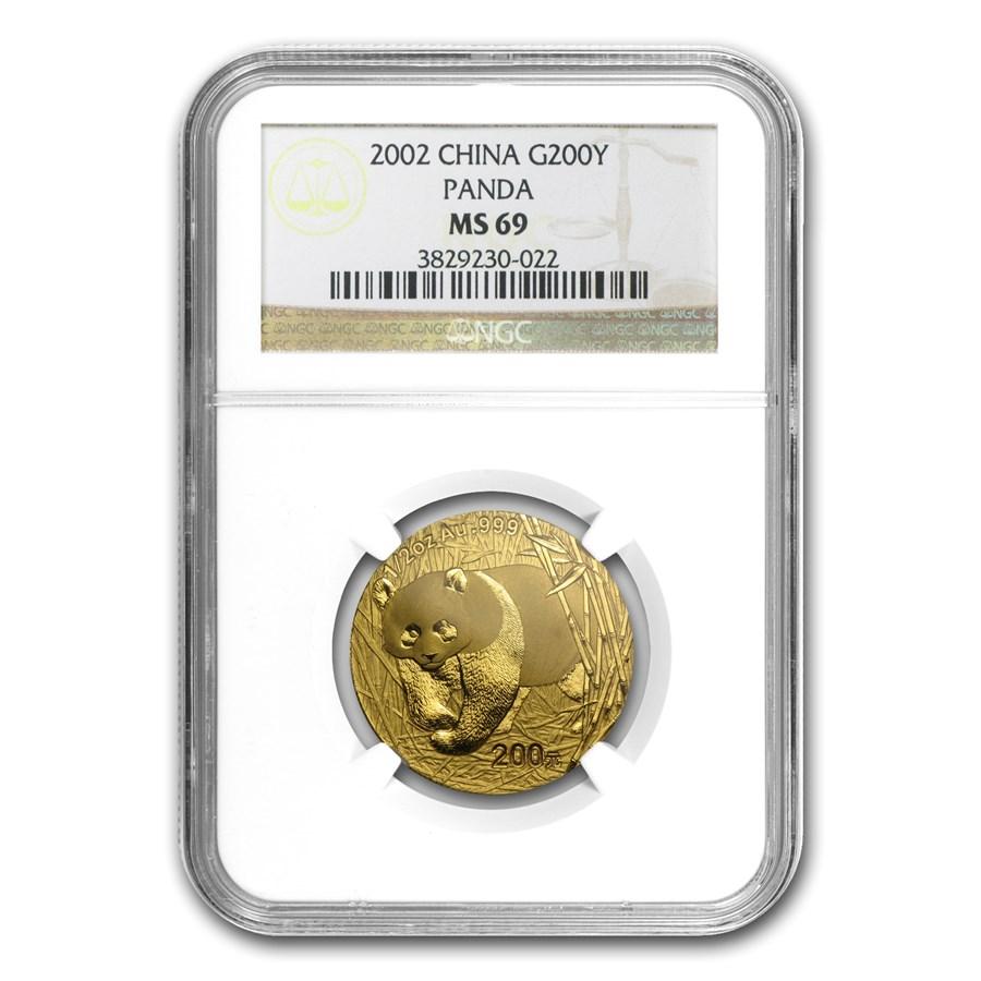 2002 China 1/2 oz Gold Panda MS-69 NGC