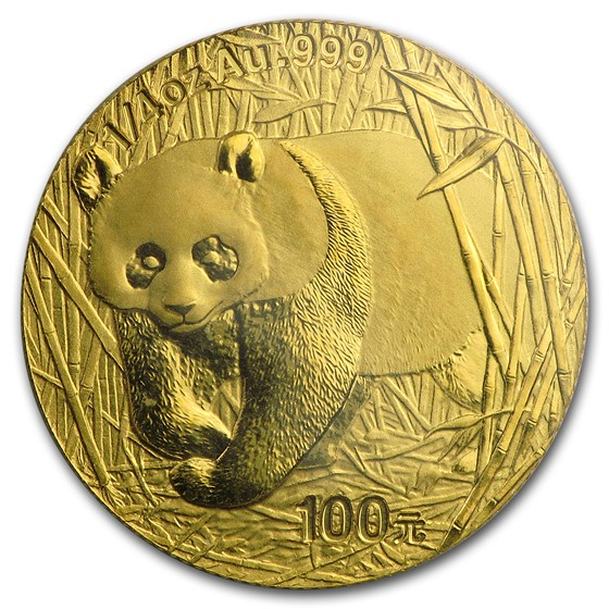 2002 China 1/4 oz Gold Panda BU (Sealed)