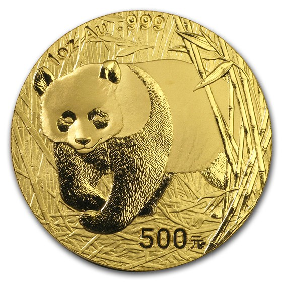 2002 China 1 oz Gold Panda BU (Not Sealed)