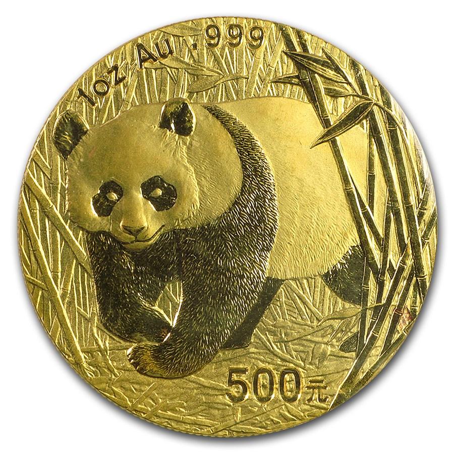 2002 China 1 oz Gold Panda BU (Sealed)