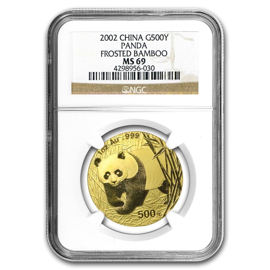 2002 China 1 oz Gold Panda Frosted Bamboo MS-69 NGC