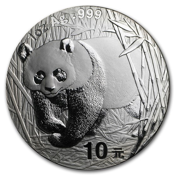 2002 China 1 oz Silver Panda BU (In Capsule)
