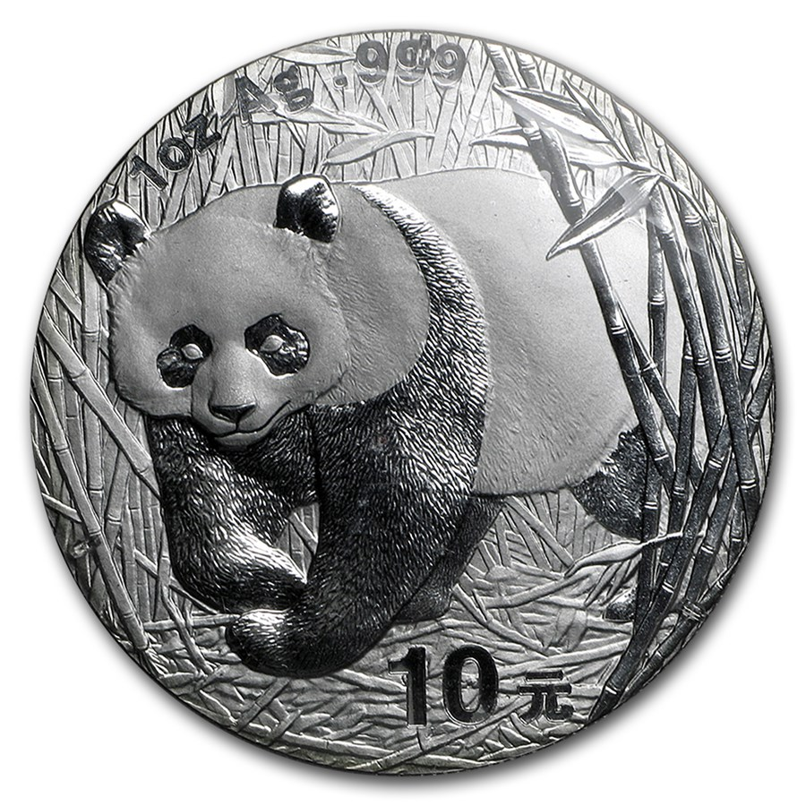 2002 China 1 oz Silver Panda BU (Sealed)
