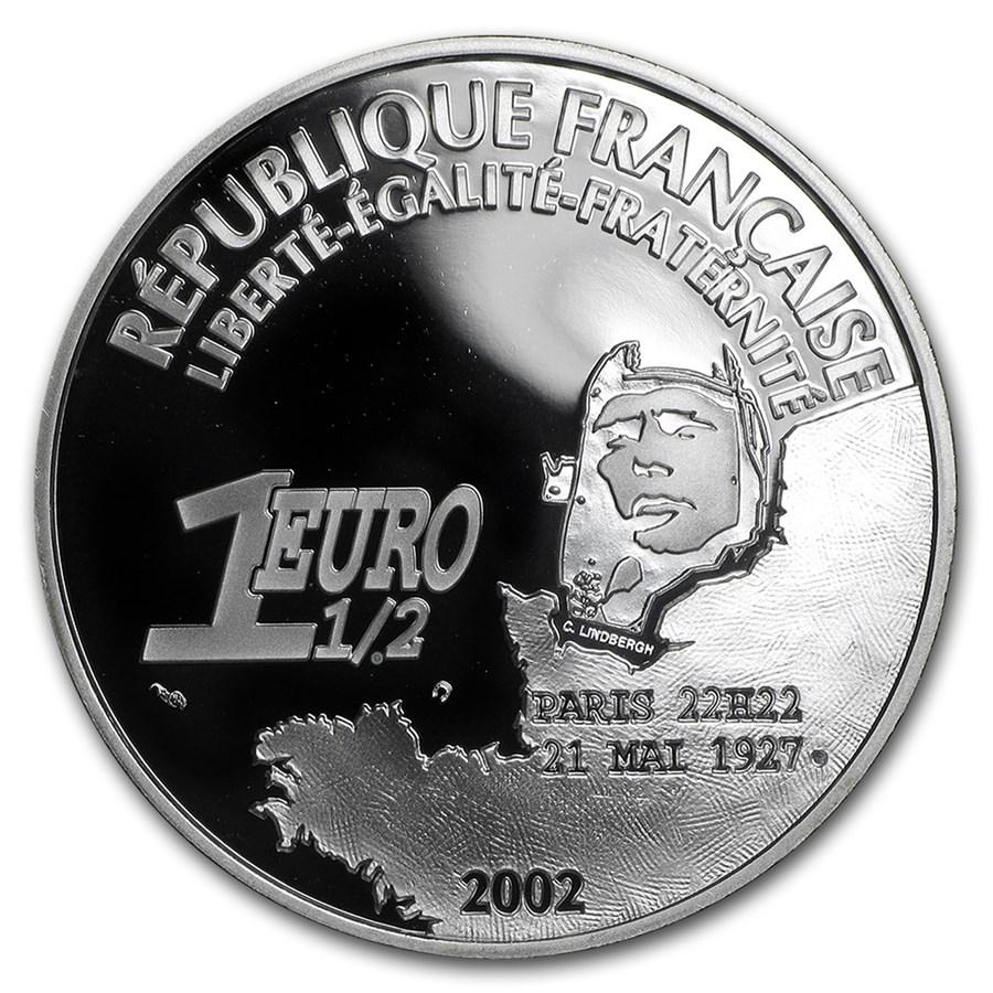 2002 France 1 oz Proof Silver €1.5 Charles Lindbergh 75th Anniv