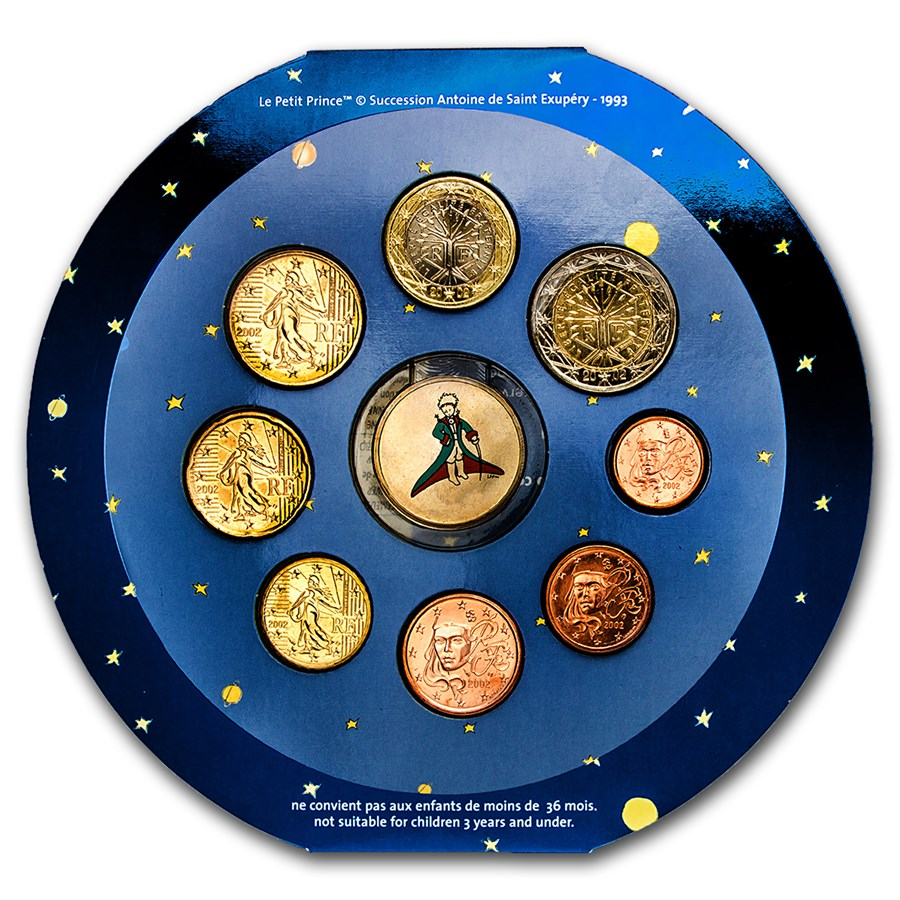2002 France 8-Coin Euro Medallion Mint Set (The Little Prince)