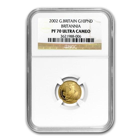 2002 Great Britain 1/10 oz Proof Gold Britannia PF-70 NGC