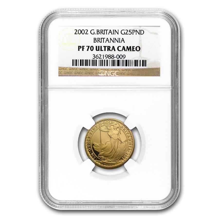 2002 Great Britain 1/4 oz Proof Gold Britannia PF-70 NGC