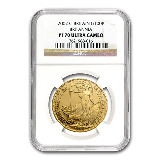 2002 Great Britain 1 oz Gold Britannia PF-70 NGC