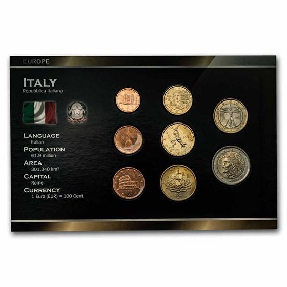 2002 Italy 1 Cent-2 Euro 8-Coin Euro Set BU