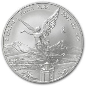 2002 Mexico 2 oz Silver Libertad BU