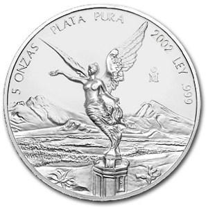 2002 Mexico 5 oz Silver Libertad BU