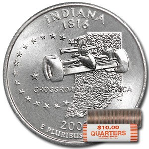 2002-P Indiana Statehood Quarter 40-Coin Roll BU