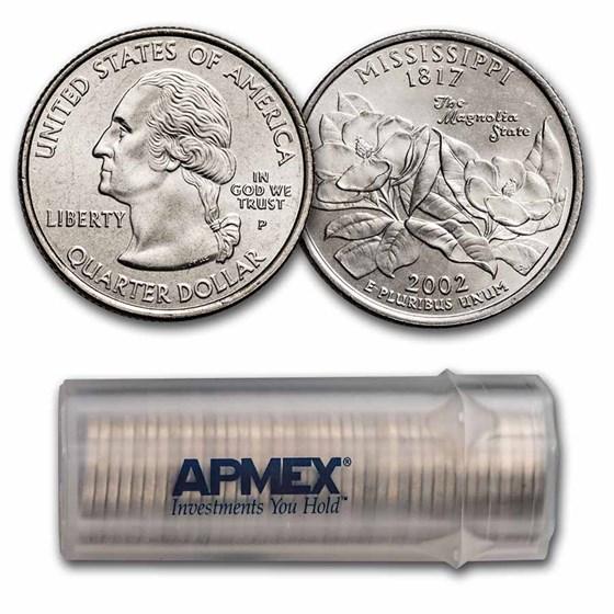 2002-P Mississippi Statehood Quarter 40-Coin Roll BU