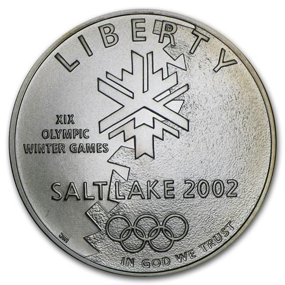 2002-P Olympic Winter Games $1 Silver Commem BU (Capsule)