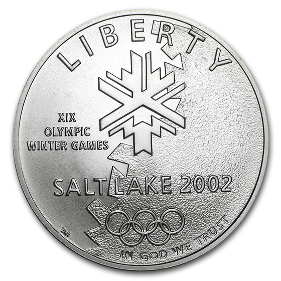 2002-P Olympic Winter Games $1 Silver Commem BU (w/Box & COA)