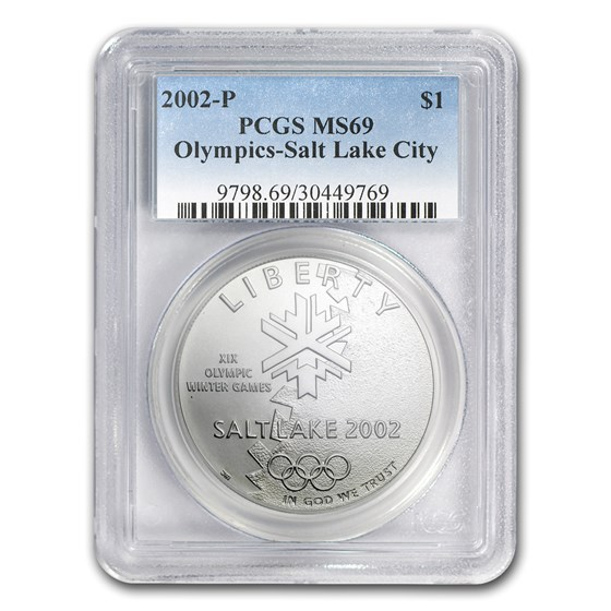 2002-P Olympic Winter Games $1 Silver Commem MS-69 PCGS