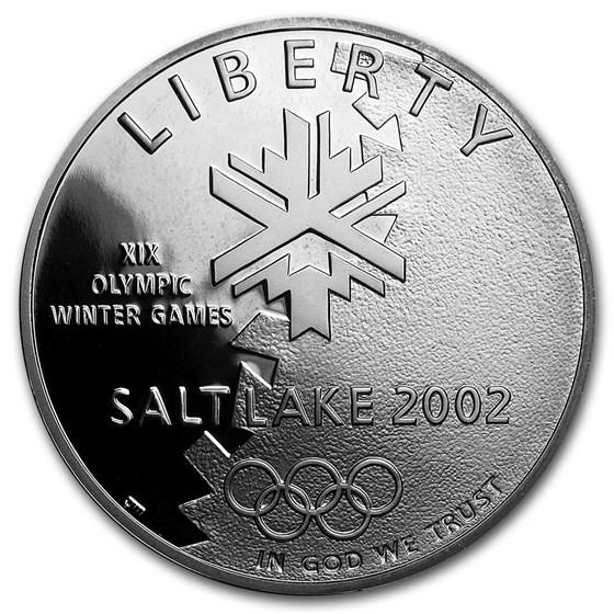 2002-P Olympic Winter Games $1 Silver Commem Proof (w/Box & COA)