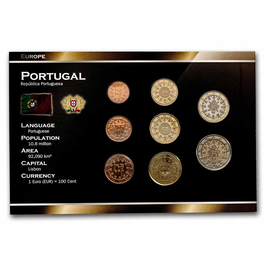 2002 Portugal 1 Cent-2 Euro 8-Coin Euro Set BU