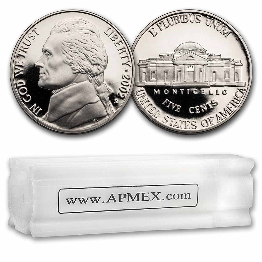 2002-S Jefferson Nickel 40-Coin Roll Proof