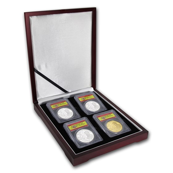 2002 Spain 4-Coin Gold & Silver 150th Anniversary Set PR-69 PCGS