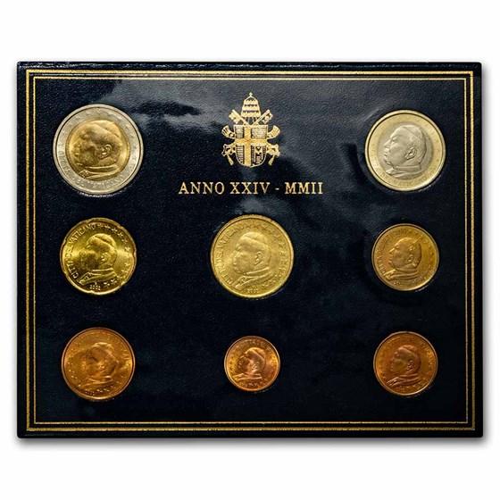 2002 Vatican City 1 Cent-2 Euro 8-Coin Euro Set BU