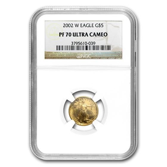2002-W 1/10 oz Proof Gold American Eagle PF-70 NGC