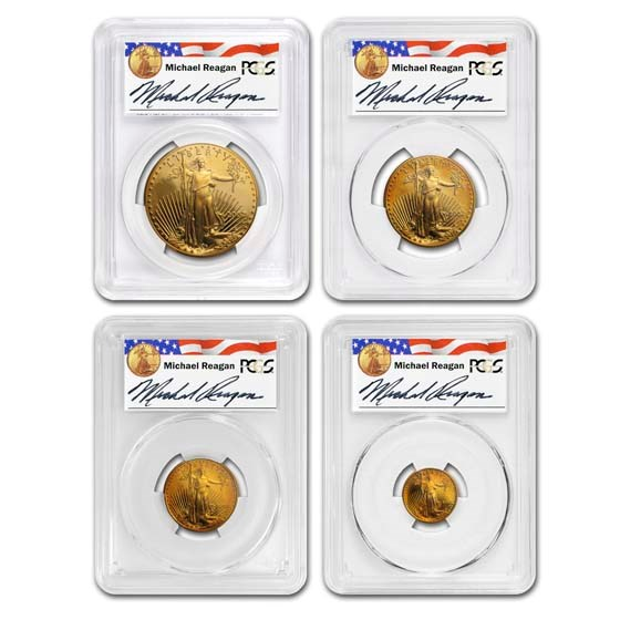 2002-W 4-Coin PF American Gold Eagle Set PR-70 PCGS (Labels Vary)