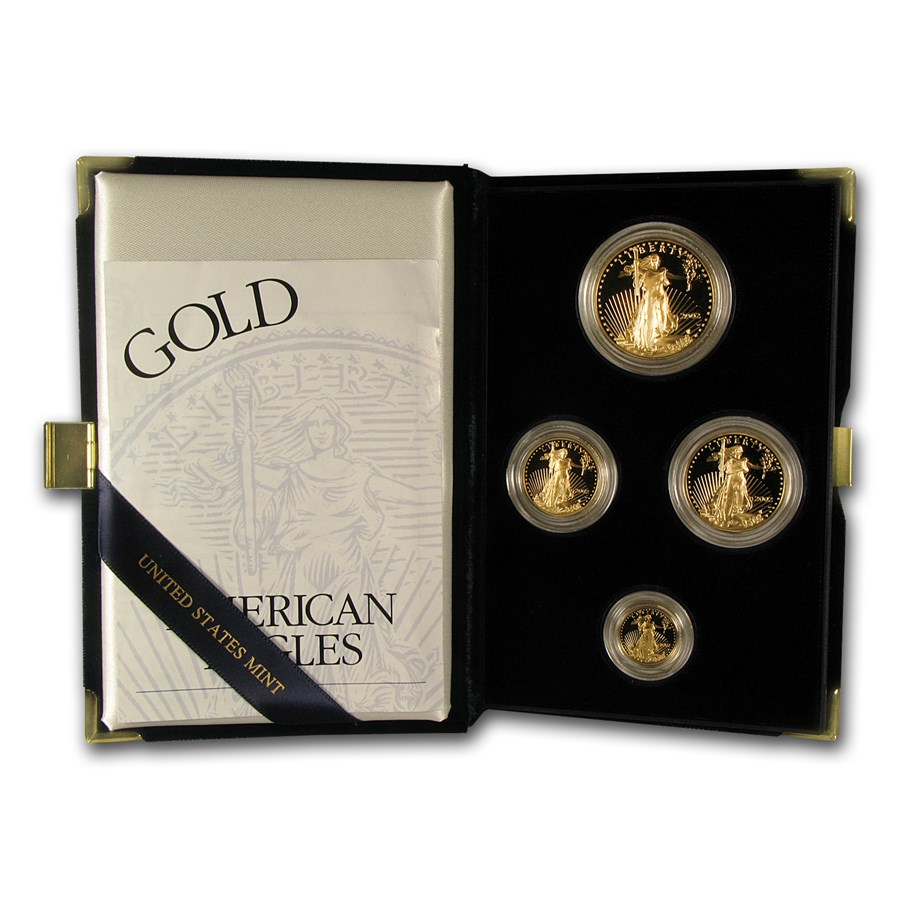 2002-W 4-Coin Proof American Gold Eagle Set (w/Box & COA)