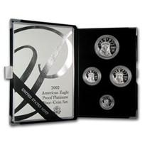 2002-W 4-Coin Proof American Platinum Eagle Set (w/Box & COA)