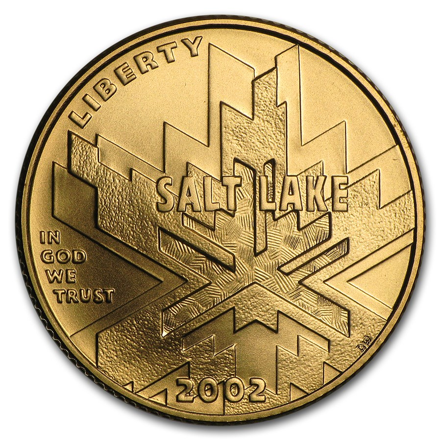 2002-W Gold $5 Commem Olympic Winter Games BU (w/Box & COA)