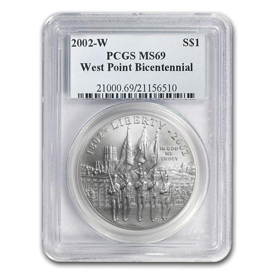 2002-W West Point Bicentennial $1 Silver Commem MS-69 PCGS