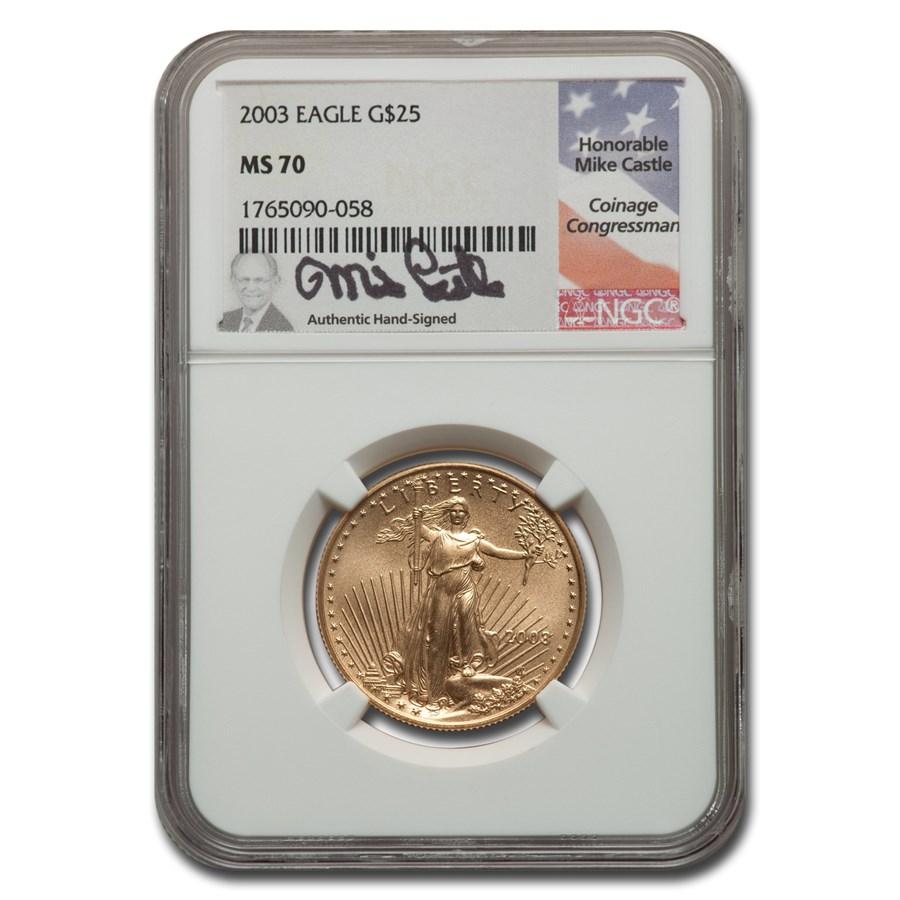 2003 1/2 oz American Gold Eagle MS-70 NGC (Castle)