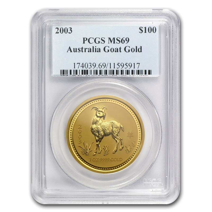 2003 1 oz Gold Lunar Year of the Goat MS-69 PCGS (Series I)