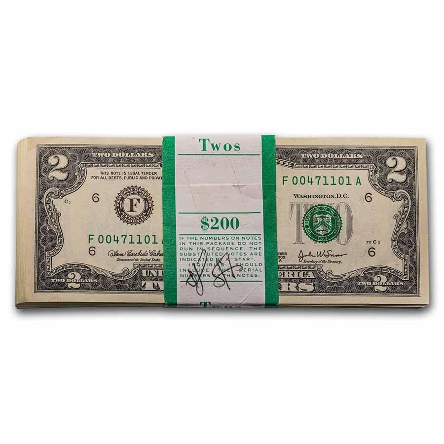 2003-A (F-Atlanta) $2.00 FRN CU (Fr#1938-F) 100 Consecutive