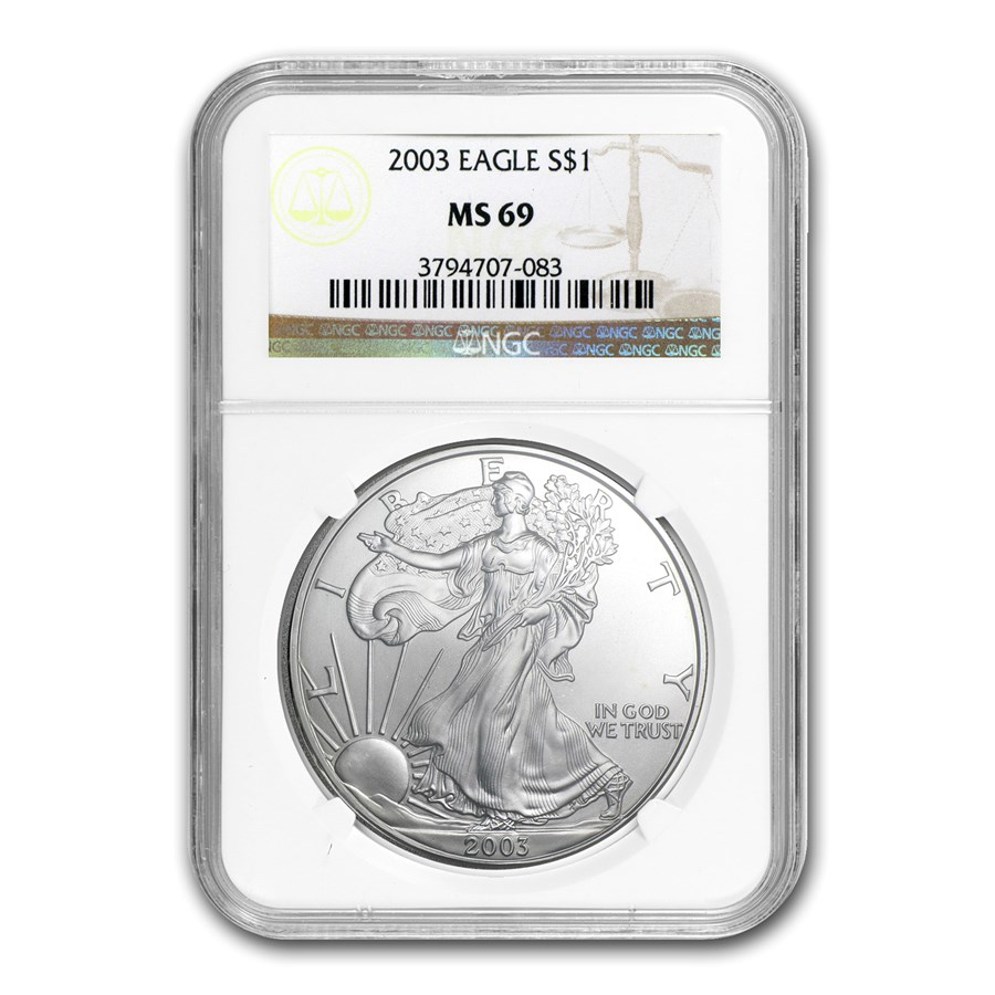 2003 American Silver Eagle MS-69 NGC