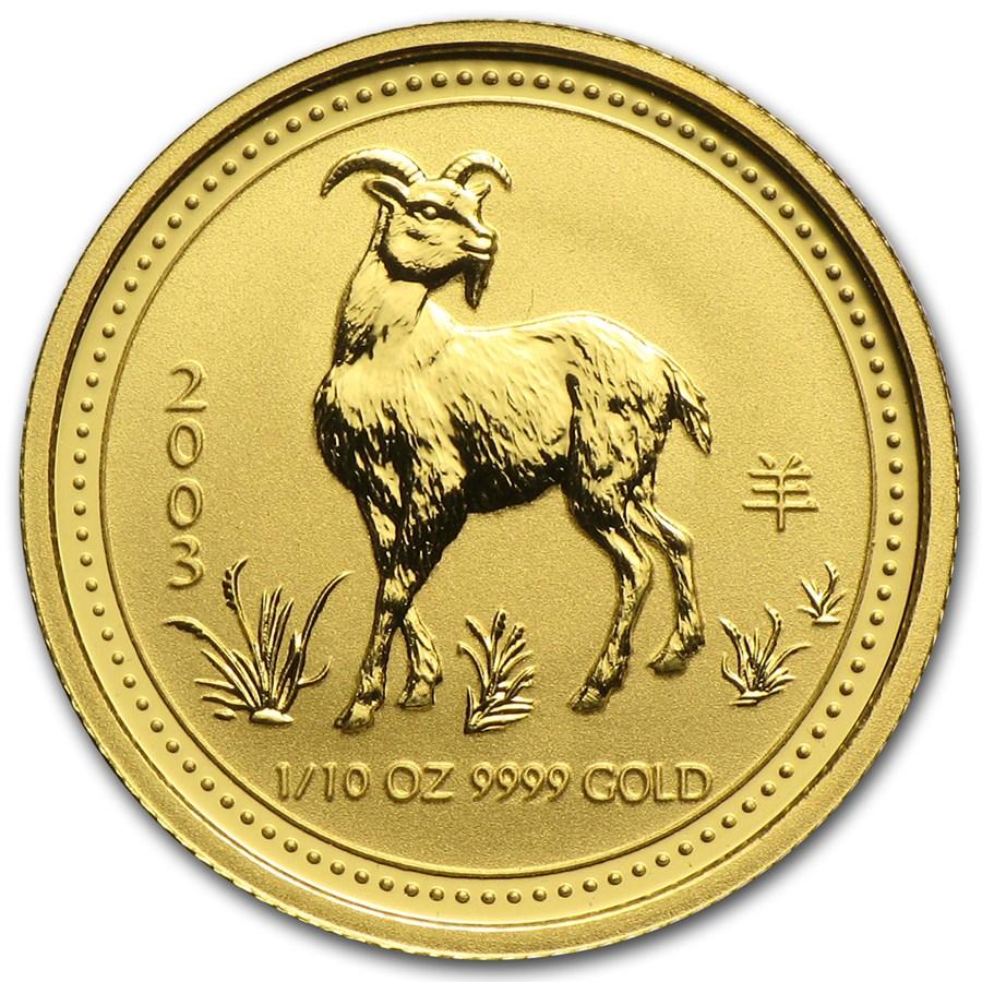2003 Australia 1/10 oz Gold Lunar Goat BU (Series I)