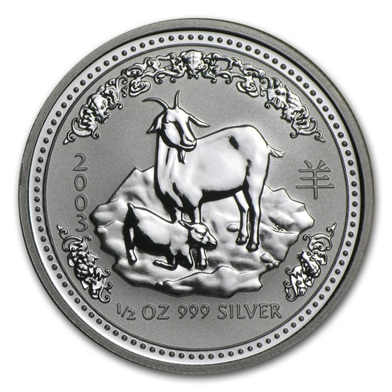 2003 Australia 1/2 oz Silver Year of the Goat BU (Series I)