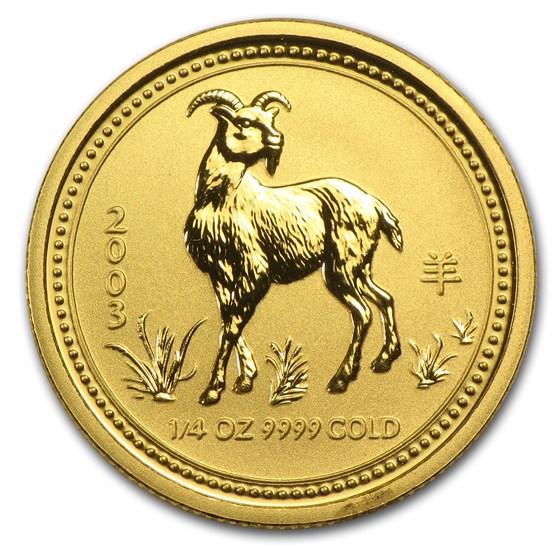 2003 Australia 1/4 oz Gold Lunar Goat BU (Series I)