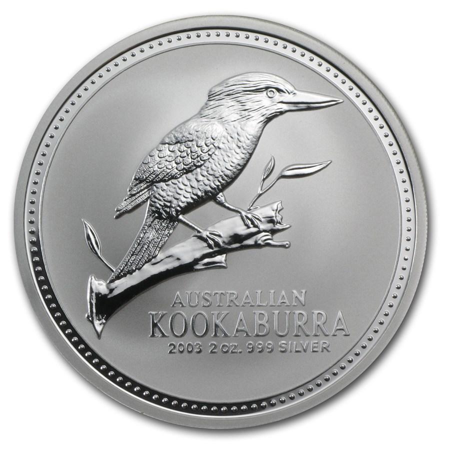 2003 Australia 2 oz Silver Kookaburra BU