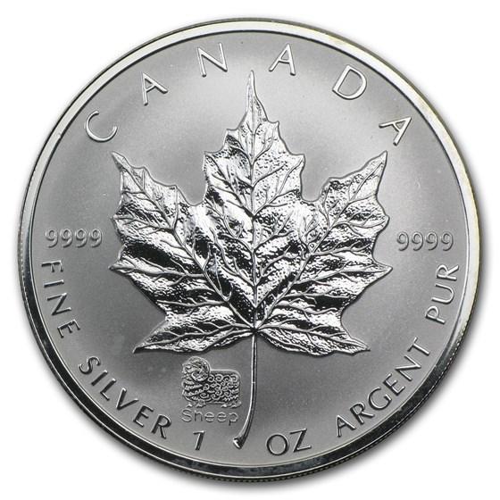 2003 Canada 1 oz Silver Maple Leaf Lunar Sheep Privy