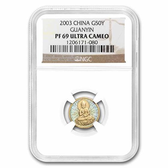 2003 China 1/10 oz Gold 50 Yuan Guanyin PF-69 NGC