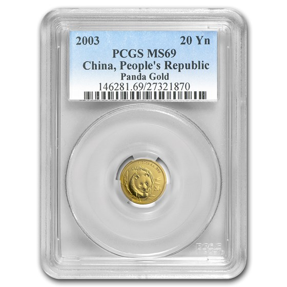 2003 China 1/20 oz Gold Panda MS-69 PCGS