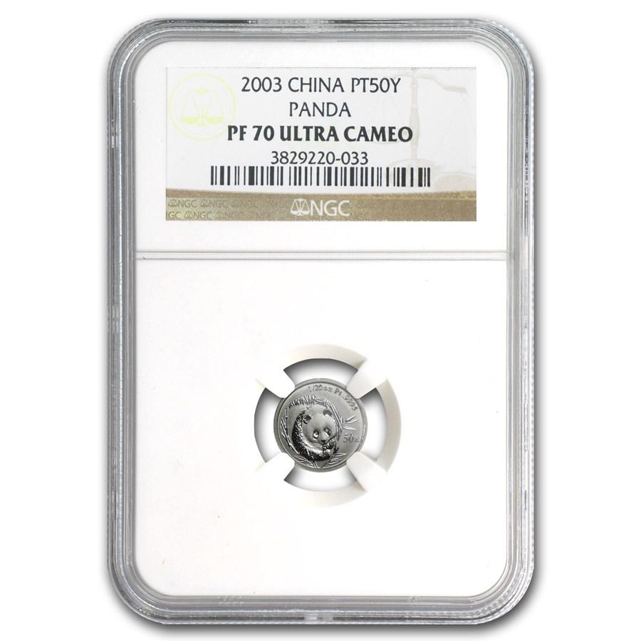 2003 China 1/20 oz Proof Platinum Panda PF-70 NGC