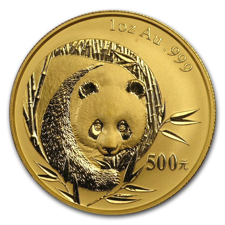 2003 China 1 oz Gold Panda BU (Not Sealed)