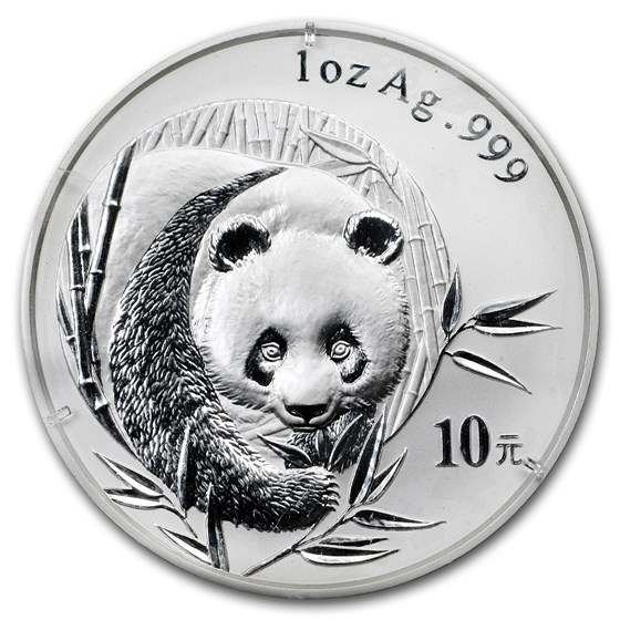 2003 China 1 oz Silver Panda BU (Frosted Bamboo, Sealed)